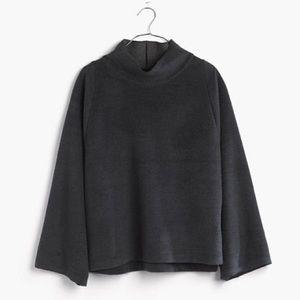 NWT Madewell Black Herringbone Mock Neck Sweater